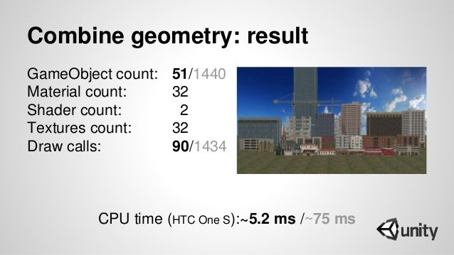 Combine geometry: result GameObject count: 51/1440 Material count: 32 Shader count: 2 Textures count: 32 Draw calls: 90/14...