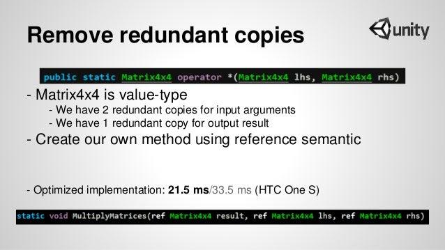 Remove redundant copies - Matrix4x4 is value-type - We have 2 redundant copies for input arguments - We have 1 redundant c...