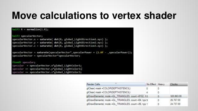 Move calculations to vertex shader