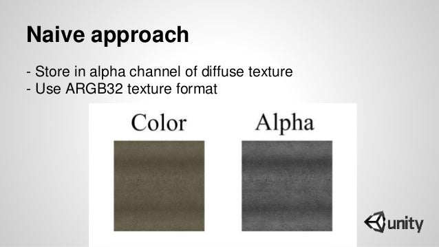 Naive approach - Store in alpha channel of diffuse texture - Use ARGB32 texture format