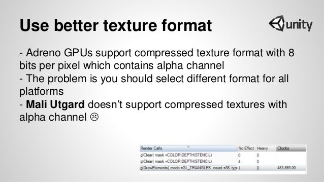 Use better texture format - Adreno GPUs support compressed texture format with 8 bits per pixel which contains alpha chann...