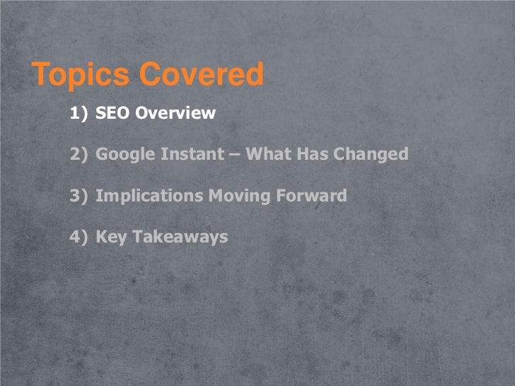 Google Instant: Major Change for SEO Slide 2