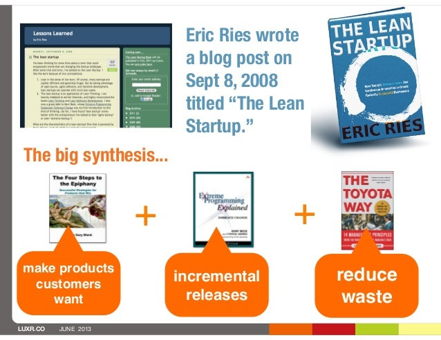"""LUXR.CO JUNE 2013Eric Ries wrotea blog post onSept 8, 2008titled """"The LeanStartup.""""incrementalreleases+reducewasteThe big ..."""