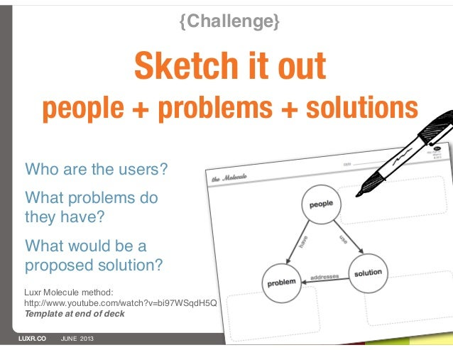 LUXR.CO JUNE 2013{Challenge}Sketch it outpeople + problems + solutionsLuxr Molecule method:http://www.youtube.com/watch?v=...