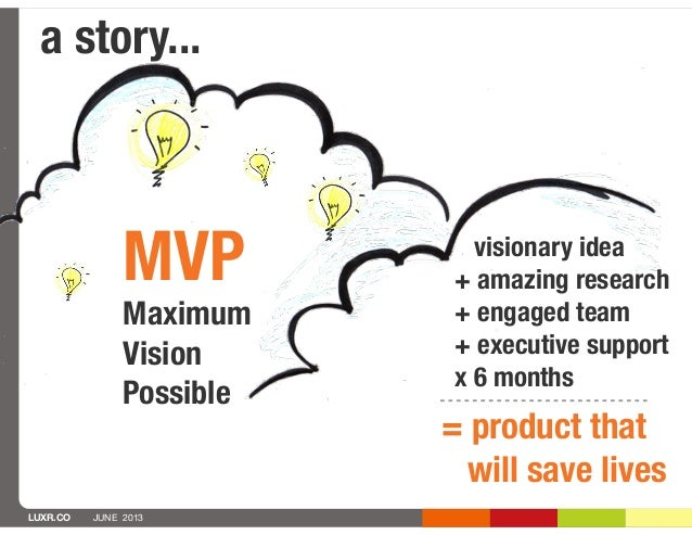 LUXR.CO JUNE 2013a story...MVPMaximumVisionPossible= product thatwill save livesvisionary idea+ amazing research+ engaged ...