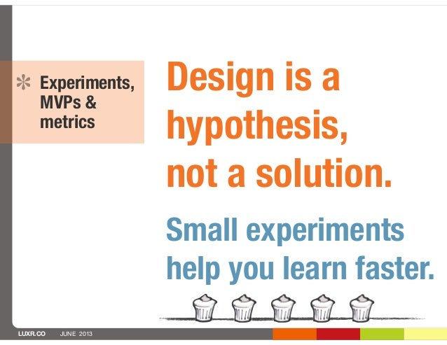 LUXR.CO JUNE 2013Experiments,MVPs &metricsDesign is ahypothesis,not a solution.Small experimentshelp you learn faster.