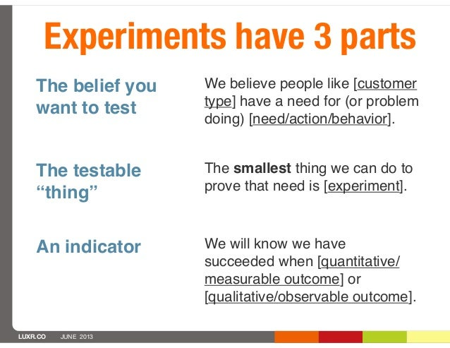"""LUXR.CO JUNE 2013Experiments have 3 partsThe belief youwant to testThe testable""""thing""""An indicatorWe believe people like [..."""