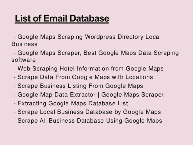 Google Map Scraping - Scrape Local Business Database