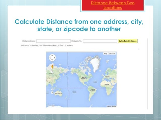 Distance from one zip code to another