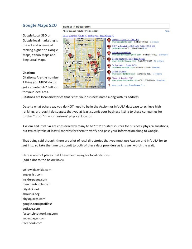 Google Maps SEO  Google Local SEO or Google local marketing is the art and science of ranking higher on Google Maps, Yahoo...