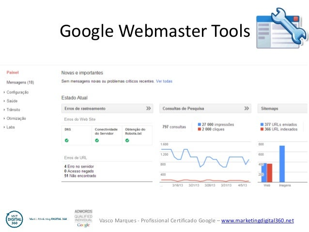 Vasco Marques - Profissional Certificado Google – www.marketingdigital360.net Google Webmaster Tools
