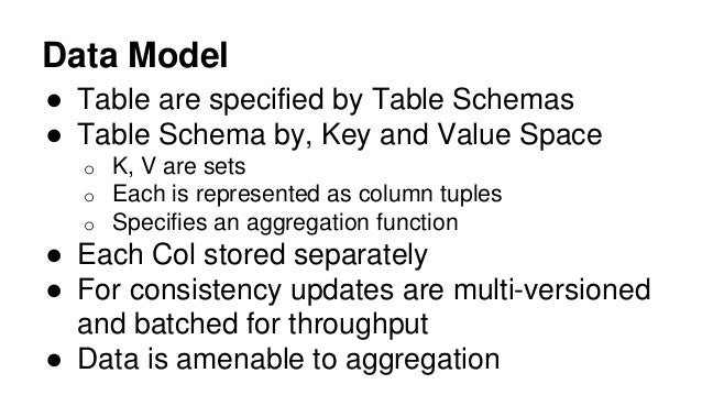 Data Model ● Table are specified by Table Schemas ● Table Schema by, Key and Value Space o K, V are sets o Each is represe...