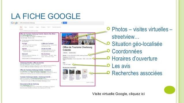 LA FICHE GOOGLE  Photos – visites virtuelles – streetview…  Situation géo-localisée  Coordonnées  Horaires d'ouverture...