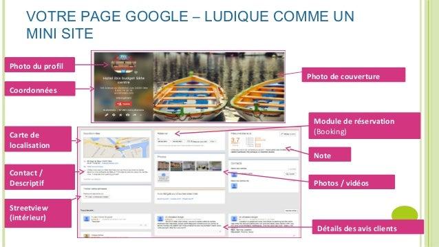 Photo du profil Coordonnées Photo de couverture Carte de localisation Module de réservation (Booking) Note Photos / vidéos...