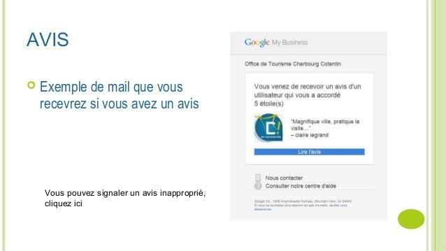 AVIS  Exemple de mail que vous recevrez si vous avez un avis Vous pouvez signaler un avis inapproprié, cliquez ici