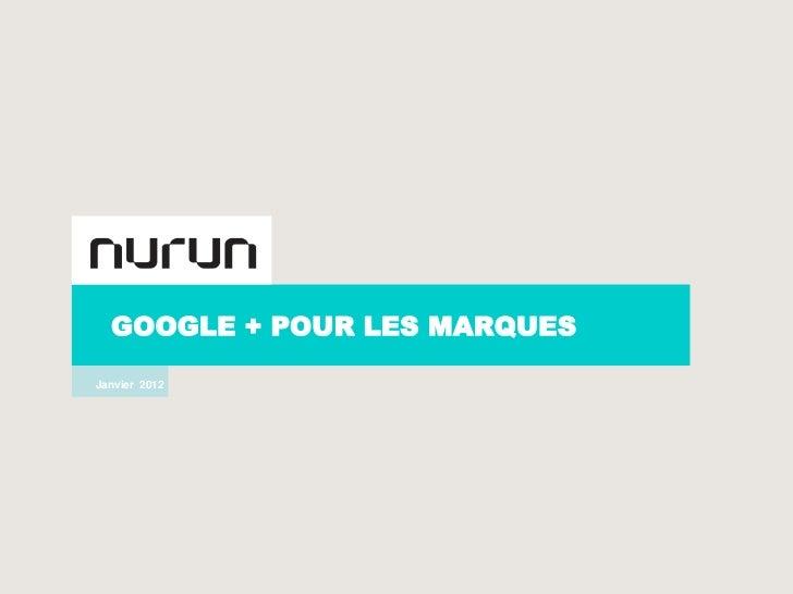 GOOGLE + POUR LES MARQUES    Janvier 2012-