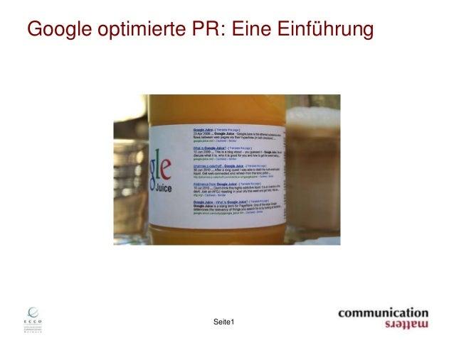 Seite1Google optimierte PR: Eine Einführung