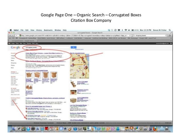 Google Page One – Organic Search – Corrugated Boxes Citation Box Company