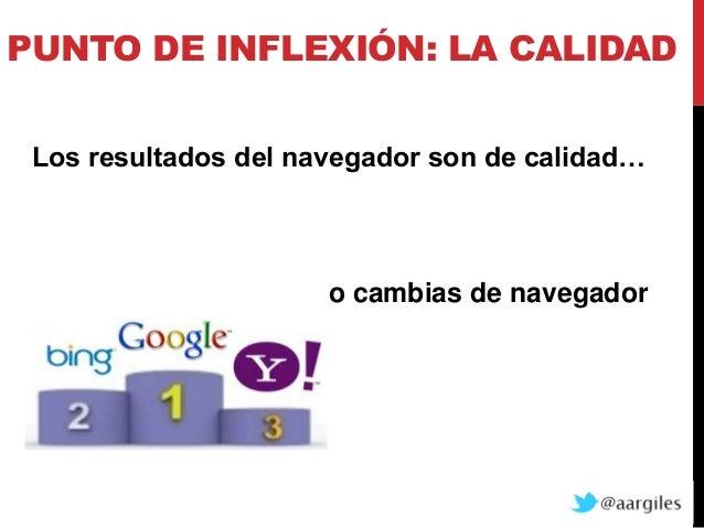 PUNTO DE INFLEXIÓN: LA CALIDAD Los resultados del navegador son de calidad…                      o cambias de navegador