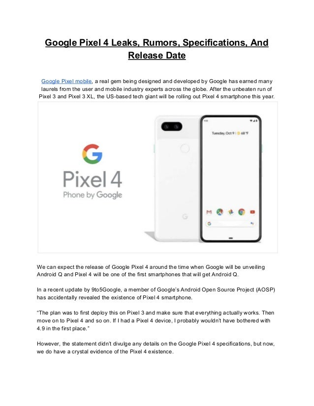 Google pixel 4 leaks, rumors, release date and everything else