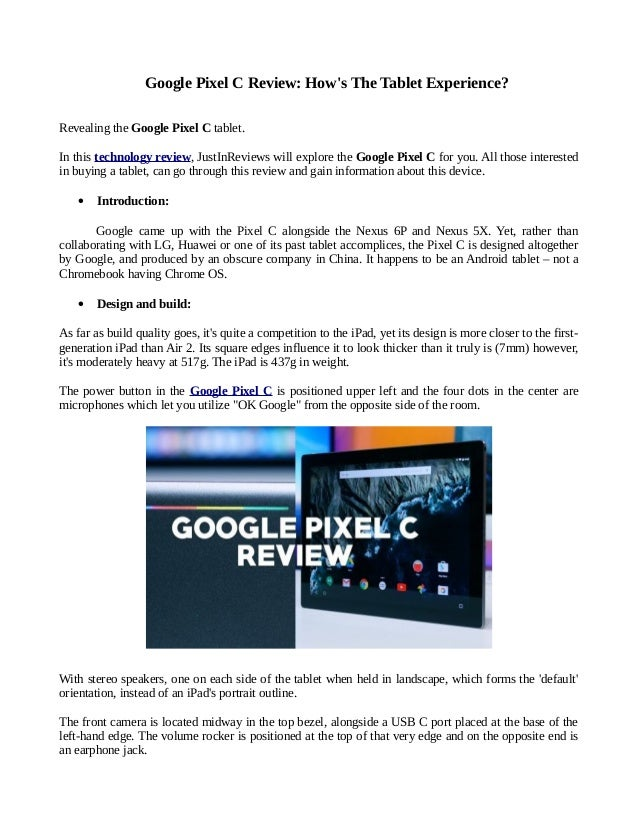 Google pixel c review: how's the tablet experience?
