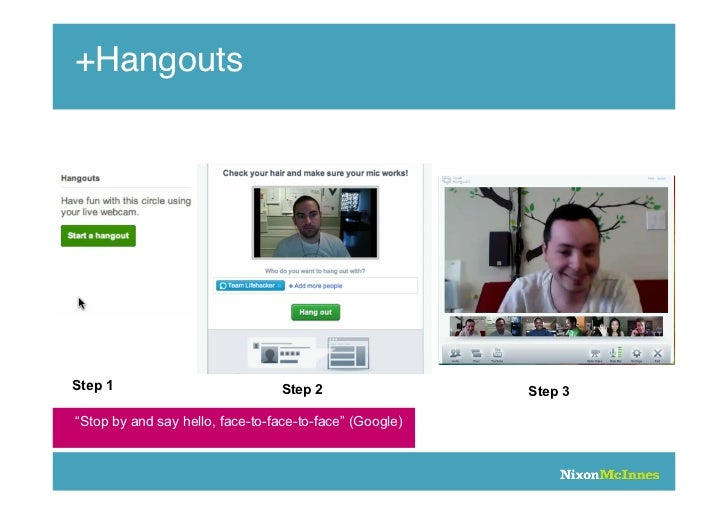 "+HangoutsStep 1                            Step 2                 Step 3""Stop by and say hello, face-to-face-to-face"" (Goo..."