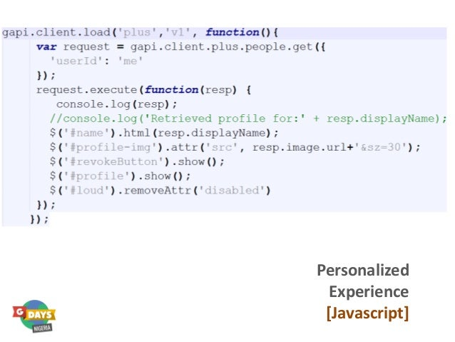 Personalized Experience [Javascript]