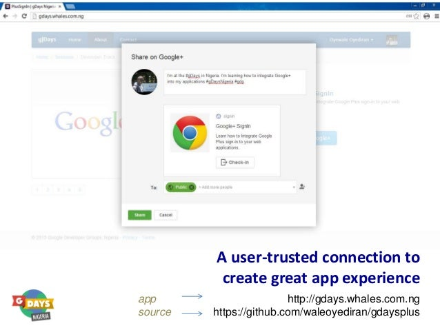 A user-trusted connection to create great app experience http://gdays.whales.com.ng https://github.com/waleoyediran/gdaysp...