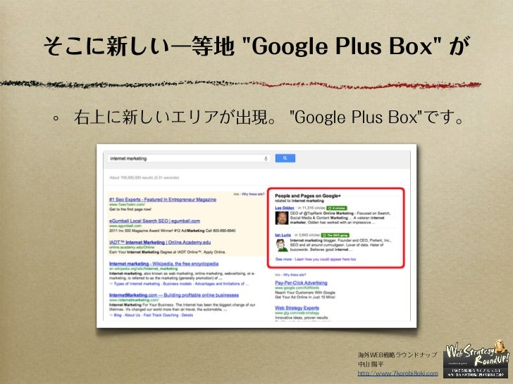 """そこに新しい一等地 """"Google Plus Box"""" が  右上に新しいエリアが出現。 """"Google Plus Box""""です。                          海外WEB戦略ラウンドナップ                 ..."""