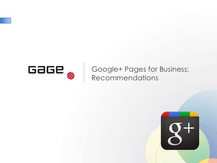 Google+ Pages for Business:Recommendations