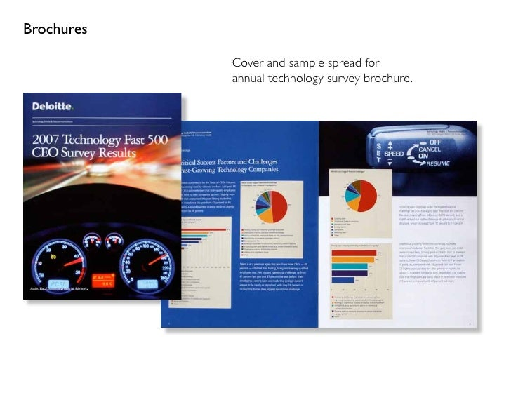Brochures              Cover and sample spread for             annual technology survey brochure.
