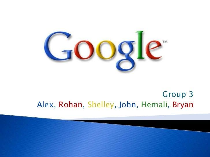 Group 3<br />Alex, Rohan, Shelley, John, Hemali, Bryan<br />