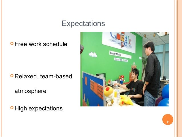 7 Expectations  Free work schedule  Relaxed, team-based atmosphere  High expectations