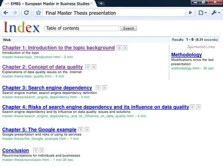 thesis on google The senior seminar website has a very detailed document on how to write a thesis which you might want to look at most of the tips given there are relevant for your thesis proposal as well most of the tips given there are relevant for your thesis proposal as well.