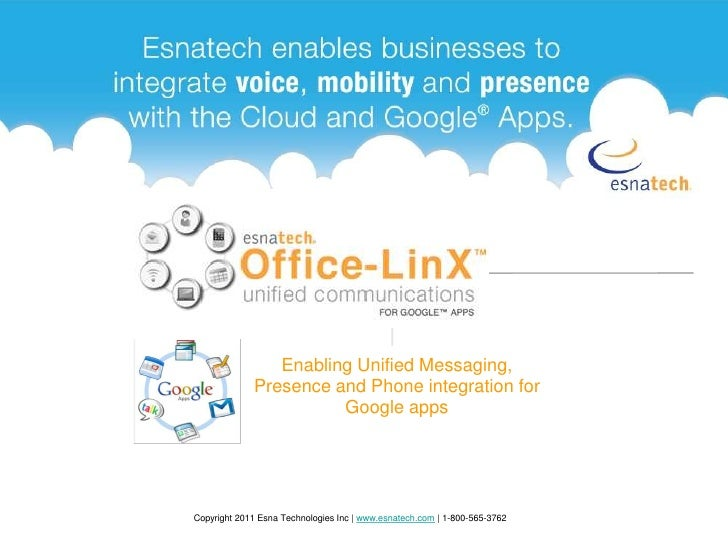 Enabling Unified Messaging, Presence and Phone integration for Google apps<br />Copyright 2011 Esna Technologies Inc | www...