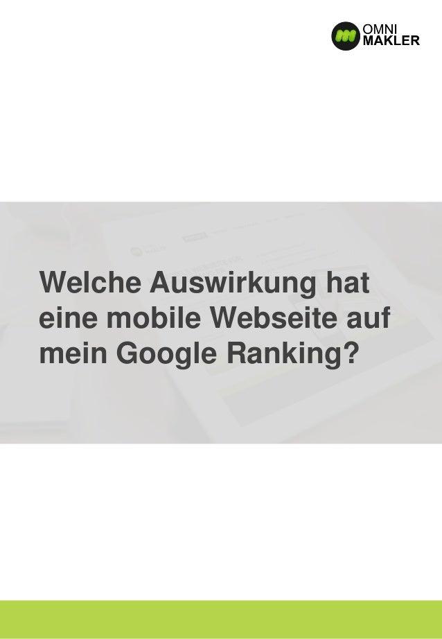 Welche Auswirkung hat eine mobile Webseite auf mein Google Ranking?