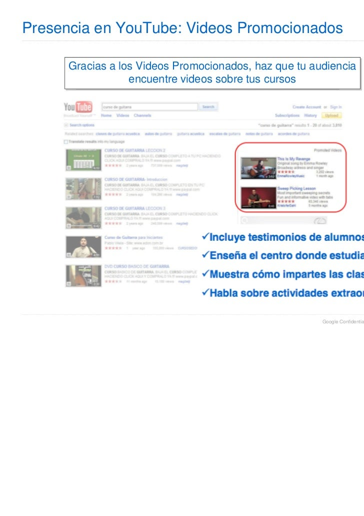 Presencia en YouTube: Videos Promocionados      Gracias a los Videos Promocionados, haz que tu audiencia                  ...