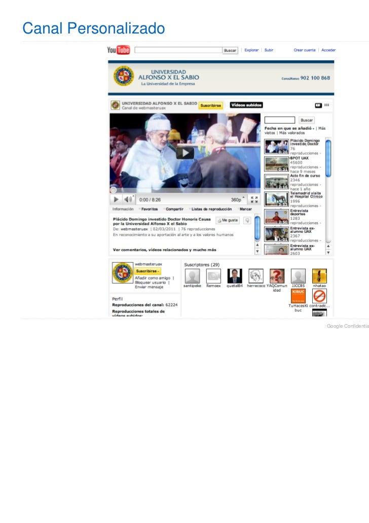 Canal Personalizado                      Google Confidential and Proprietary