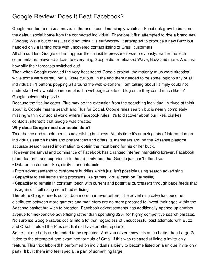 Google Review: Does It Beat Facebook?Google needed to make a move. In the end it could not simply watch as Facebook grew t...