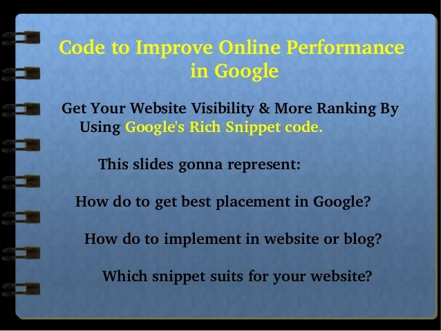 CodetoImproveOnlinePerformance inGoogle    GetYourWebsiteVisibility&MoreRankingB...