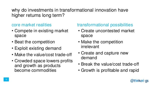 12 @thinkerings why do investments in transformational innovation have higher returns long term? • Compete in existing mar...