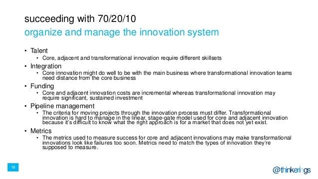 18 @thinkerings succeeding with 70/20/10 • Talent • Core, adjacent and transformational innovation require different skill...