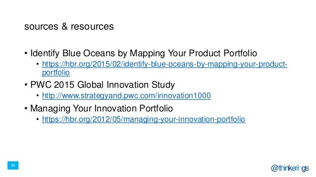 20 @thinkerings sources & resources • Identify Blue Oceans by Mapping Your Product Portfolio • https://hbr.org/2015/02/ide...