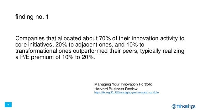 9 @thinkerings finding no. 1 Companies that allocated about 70% of their innovation activity to core initiatives, 20% to a...