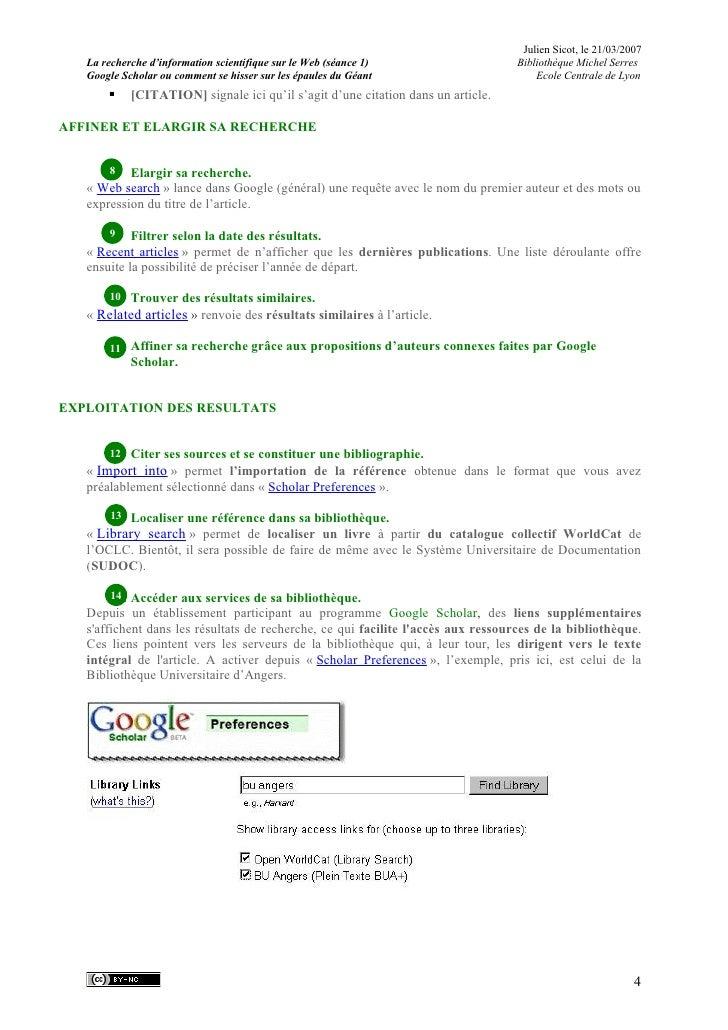 Julien Sicot, le 21/03/2007    La recherche d'information scientifique sur le Web (séance 1)                  Bibliothèque...