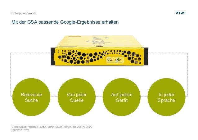 Copyright 2013 TWT Enterprise Search Mit der GSA passende Google-Ergebnisse erhalten Auf jedem Gerät In jeder Sprache Von ...