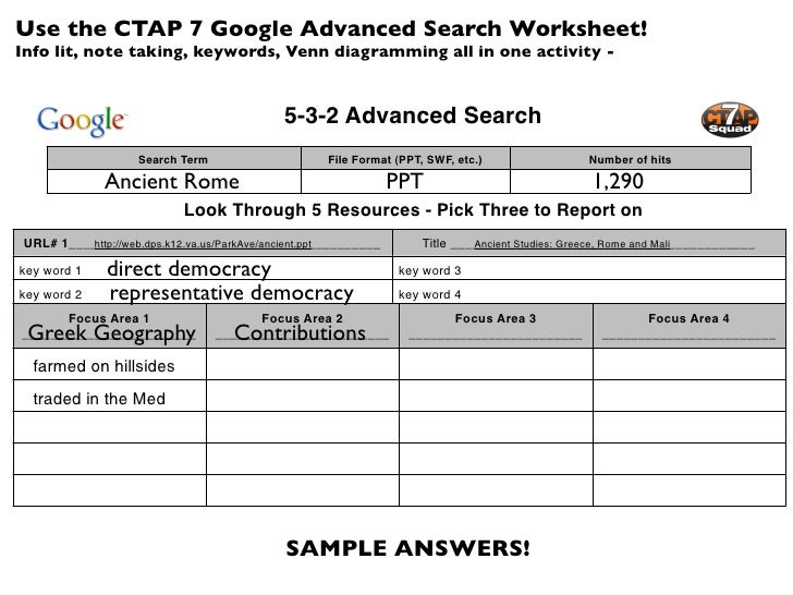 Use the CTAP 7 Google Advanced Search Worksheet!Info lit, note taking, keywords, Venn diagramming all in one activity -   ...