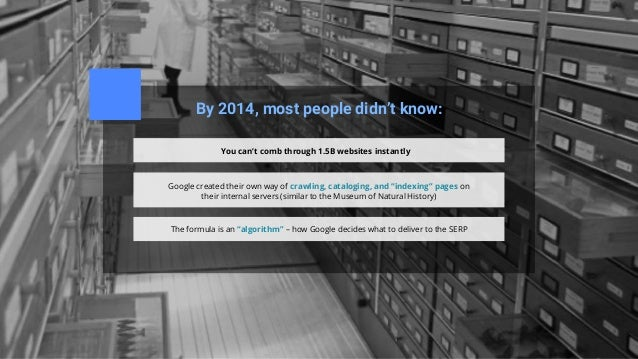 By 2014, most people didn't know: You can't comb through 1.5B websites instantly Google created their own way of crawling,...