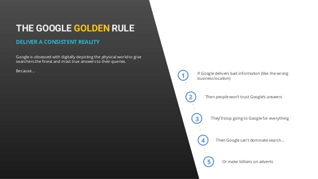 THE GOOGLE GOLDEN RULE DELIVER A CONSISTENT REALITY Google is obsessed with digitally depicting the physical world to give...