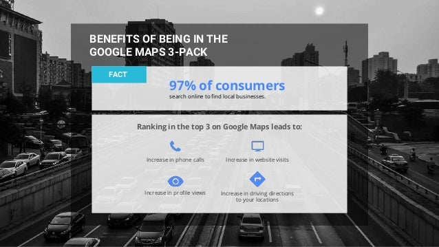 BENEFITS OF BEING IN THE GOOGLE MAPS 3-PACK FACT 97% of consumers search online to find local businesses. Ranking in the t...